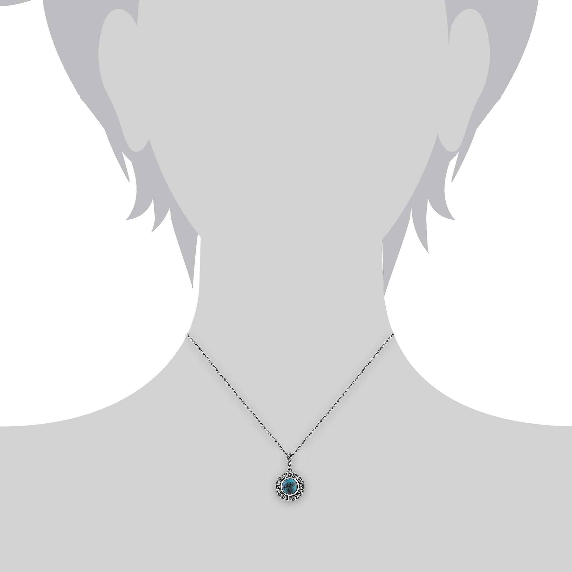 Gemondo 925 Sterling Silver 0.97ct Turquoise & Marcasite Art Deco Necklace