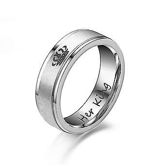 King und Queen Embedded Edelstahl Paar Ringe