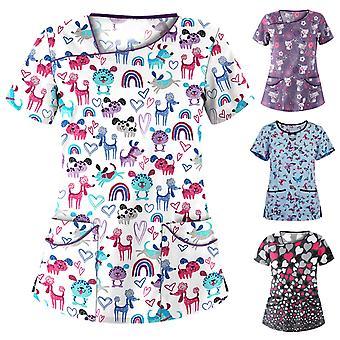 Kvinder Kort ærme Pocket V-hals Udskrivning Toppe Sygeplejerske Overalls Working Uniform