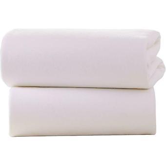 Clair de Lune Crib Pram Cot Cotton Jersey Flat Sheets 70 x 90cm Pack of 2 White