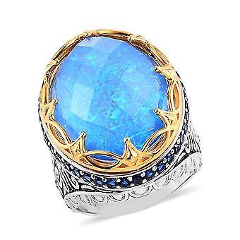 TJC Blue Opal Doublet, Blue Zircon Dome Ring in Platinplattiertes Silber 0.2ct(N)