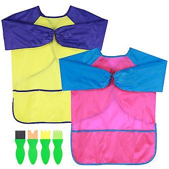 Toyvian 2pcs Kinder Malerei Schürze Langarm Schürze Wasserdicht Kunst Kittel mit 4pcs Malpinsel für Kinder Frühes Lernen Diy Art Craft (ros