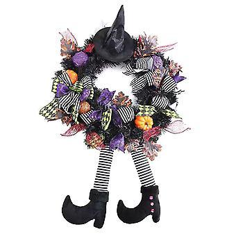 Halloween seppele hattu jalat ovi roikkuu seppele kurpitsa sisustus