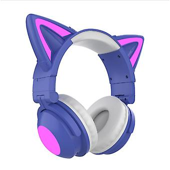 Gaming Headset Cat Ears Surround Sound Rgb Led Light Noise Canceling 5.0 Bluetooth