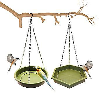 2pcs Hanging Bird Bath Feeder Trays Plastic Bird Water Drinker Feeding Station