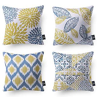 Set Of 4 New Living Series Decorative Yellow And Blue Throw Pillow Case Cushion Cover 18 X 18 Inches 45 X 45 Cm