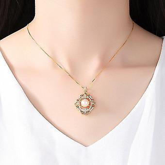 925 Solid Silver Necklace Pearl Pendant Zircon Women Fine Jewelry Link Lady Gift|Necklaces
