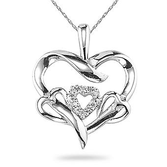 3 Hearts in 1 Diamond Heart Necklace