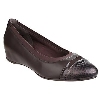 Rockport Womens Total Motion Esha Evan Layer Slip on Wedge Pump Dark Granite