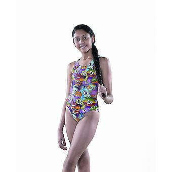 Maru Girls Zippy Sparkle Auto Back Swim Suit - Multicoloured