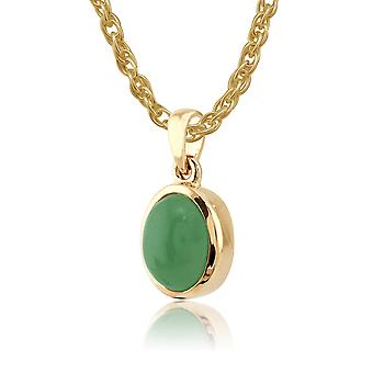 Classic Jade Cabochon Pendant in Necklace 9ct Yellow Gold 8040