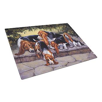 Basset Hound Puppies, Momma and Daddy Glass Cutting Board Large