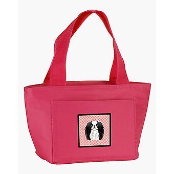 Carolines Treasures  BB1230PK-8808 Checkerboard Pink Japanese Chin Lunch Bag
