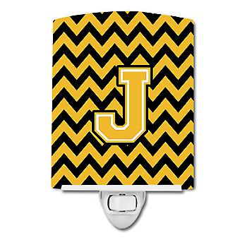 Letter J Chevron Black and Gold Ceramic Night Light
