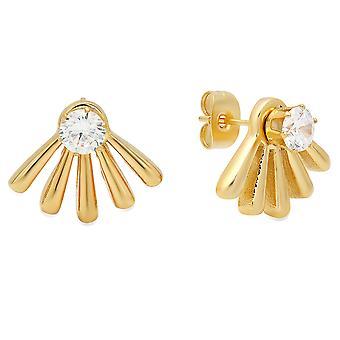 Ladies 18K goud vergulde RVS gesimuleerde Diamond Ear Jacket.