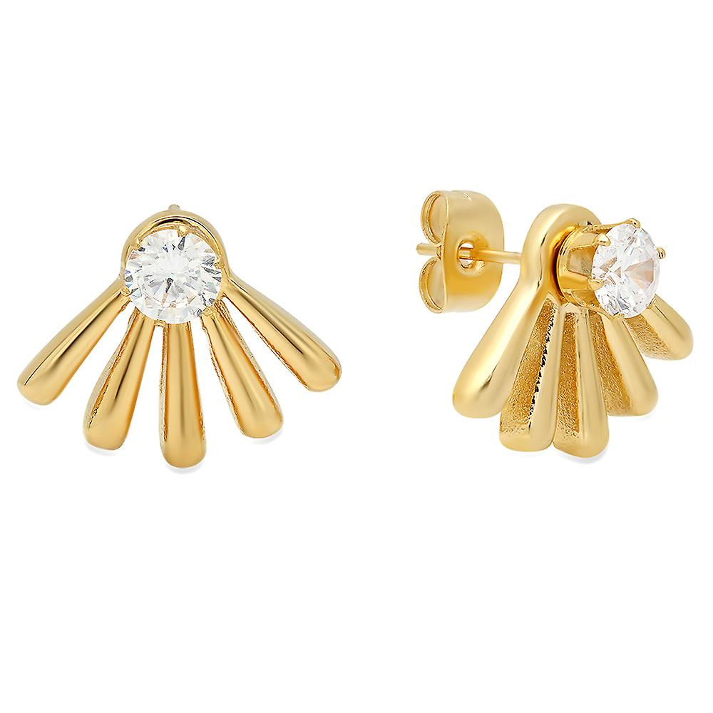 Ladies 18K Gold Plated Stainless Steel Simulated Diamond Ear Jacket
