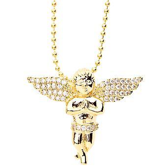 見せびらかすマイクロ舗装ペンダント - ゴールド ミニ飛ぶ天使をアイス