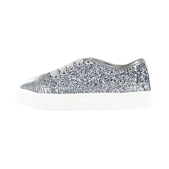Girls Buckle My Shoe Glitter Silver Low Top Fashion Trainer Shoe Various Sizes