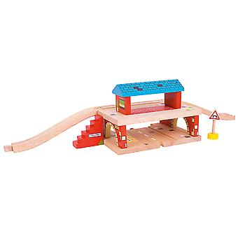 Bigjigs Rail Wooden Overground Station Railway Train Track Accessories Playset