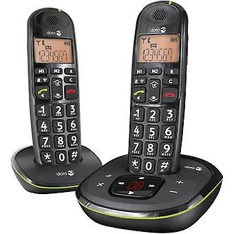 doro PhoneEasy 105wr Duo Cordless Big Button Visual call notification, Answerphone Backlit Black