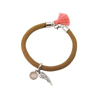 Women - bracelet - 925 Silver - gemstone - Rose Quartz - Angel Wings - pink - Brown