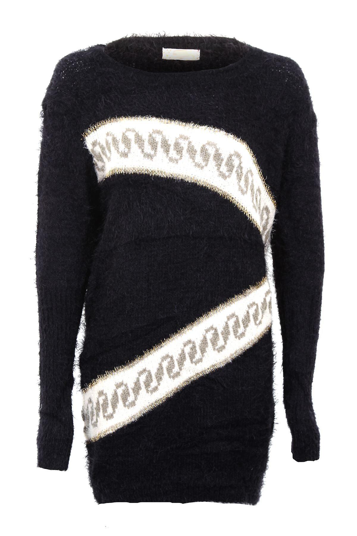 Naisten pitkähihainen siksak tulostaa turkis lämmin talvi pusero naisten pusero