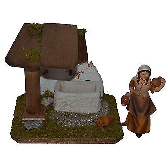 Fountain House with Shepherdess for Nativity scene Christmas Nativity stable Nativity accessories