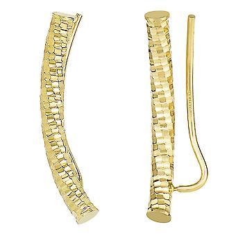 14k Yellow Gold kivuta timanttien leikkaus pyöreä putki kaareva kiipeilijä korvakorut