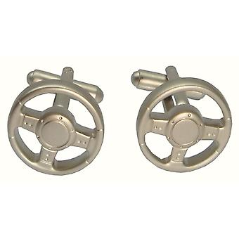 Bassin and Brown Steering Wheel Cufflinks - Silver