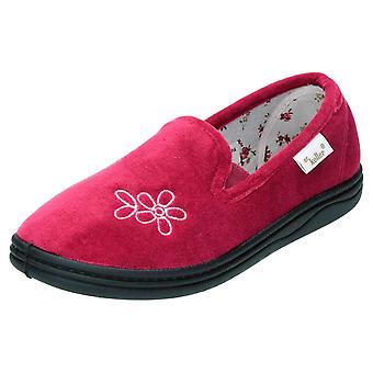 Dr Keller Navy Full Slippers Velour Floral House Shoes