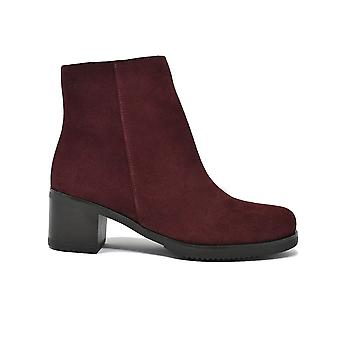 Liberitae smooth ankle boots heel suede Bordeaux 21803322-03