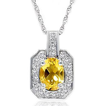 1 1 / 2ct citrino & pendente di Halo solitario diamante oro bianco 14k