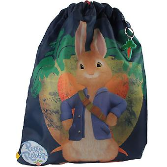 Childrens Peter Rabbit donker blauwe trainer PE tas
