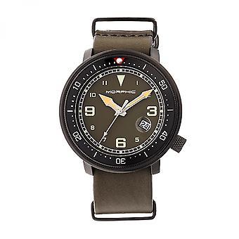 Morphic M58 Series Nato Leather-Band Watch w/ Date - Black/Olive
