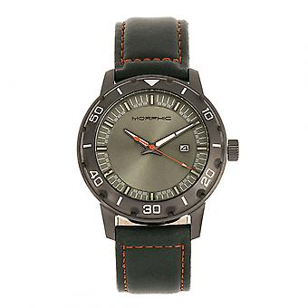 Morphic M71 Series Leather-Band Watch w/Date - Gunmetal/Forest Green