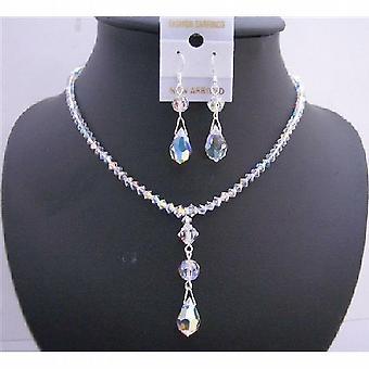 Swarovski AB kryształy biżuterii kryształów Swarovski Teardrop naszyjnik zestaw