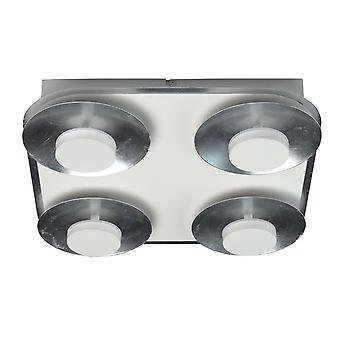Glasberg - LED projecteur plafond lumière quatre Light Square en blanc et argent 452015104