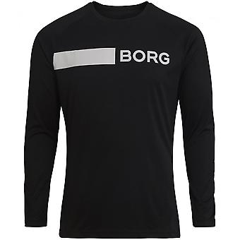 Bjorn Borg Hydro Pro Active Langarm-Training T-Shirt, schwarz/weiß