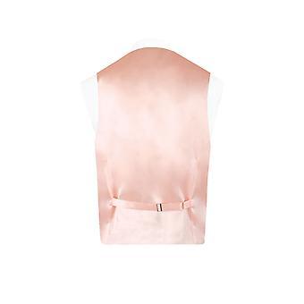Dobell Mens Light Pink Waistcoat Regular Fit Dupion 5 Button