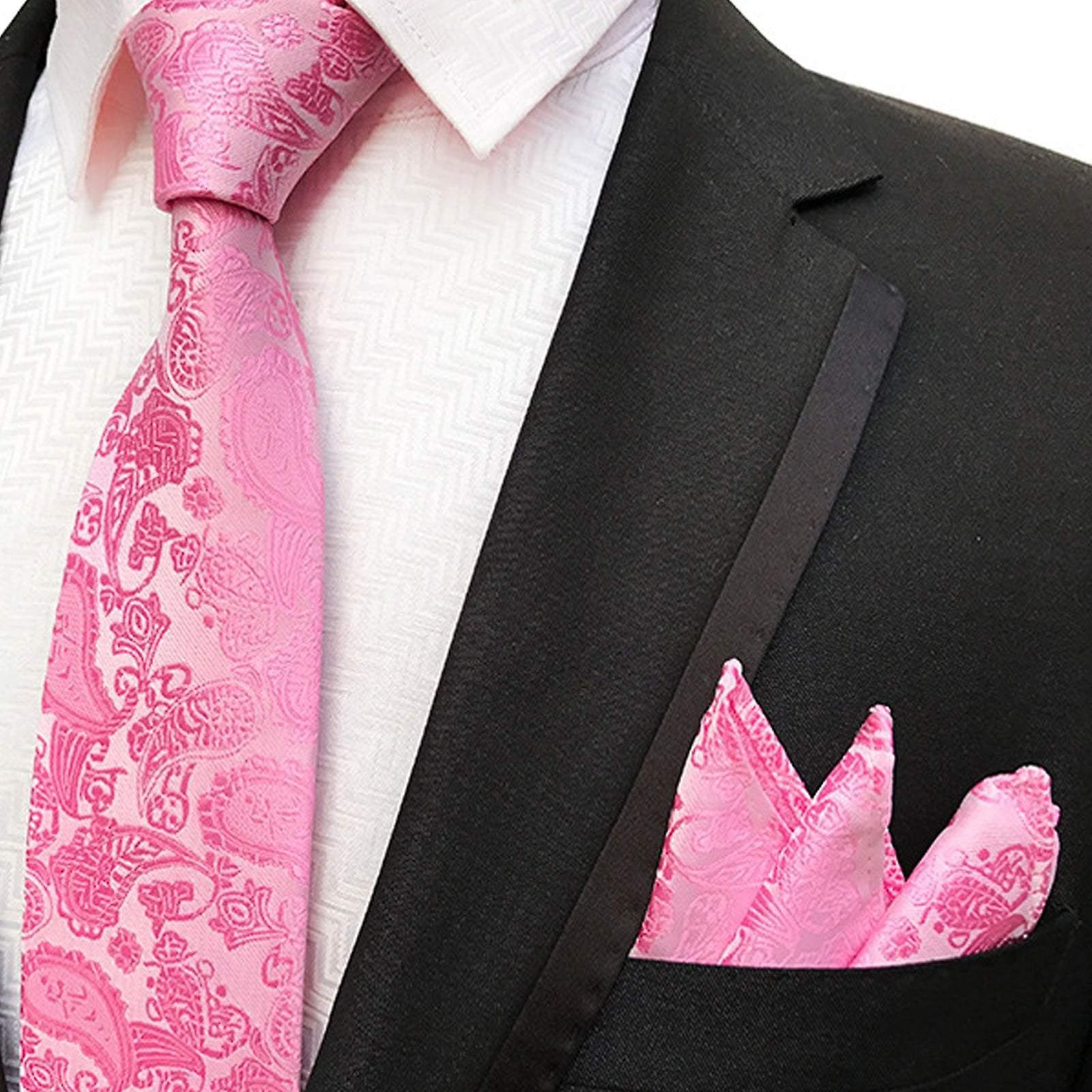 Bright pink paisley wedding  necktie & pocket square
