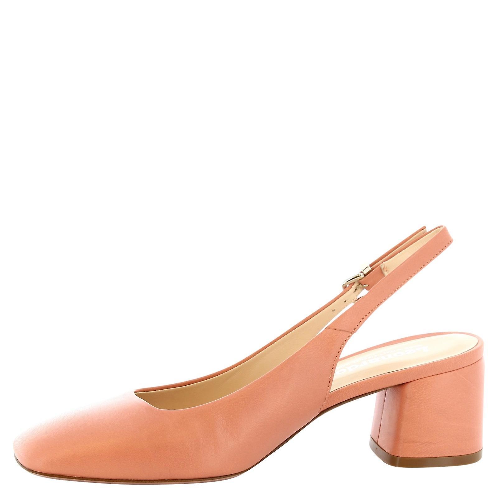 Leonardo Shoes Women's handmade slingbacks block heel in salmon calf leather