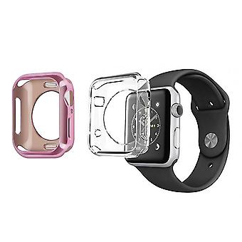 2x Watch case 38 and 40mm Soft Silicone Bumper Dux Ducis Pink Gold / Transparent