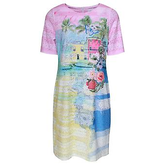Just White Burano Print Short Sleeve Sun Dress