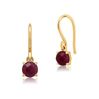 Amour Damier 9ct Yellow Gold 1.35ct Claw Set Ruby Drop Earrings by Gemondo