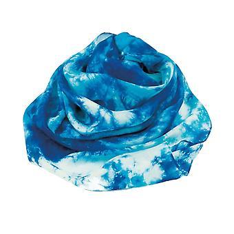 الأبدية جمع المحيط الهادئ الأزرق متعدد التعادل صبغ Oblong وشاح الحرير النقي