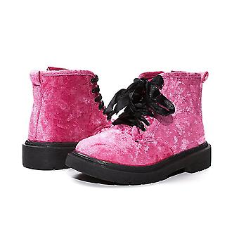 Sara Z Girls Crushed Velvet Comabt Boots With Satin Laces