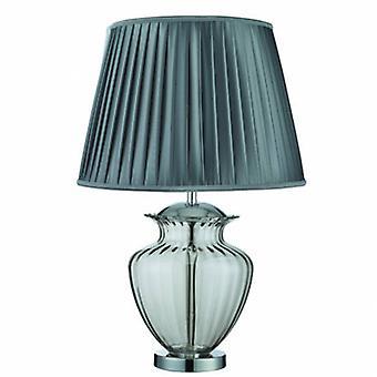 1 ljus bords lampa krom, rökt och glas med grå veckad nyans