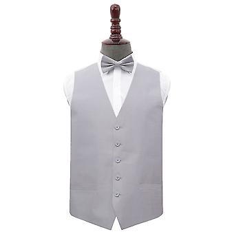 Silver Plain Shantung Wedding Waistcoat & Bow Tie Set