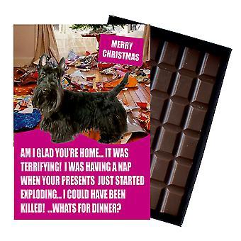 Szkocki Terrier śmieszne Boże Narodzenie prezent dla psa kochanka Pudełkowane czekolada powitanie karta Xmas Present
