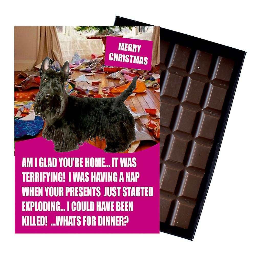 Scottish Terrier Funny Christmas Gift For Dog Lover Boxed Chocolate Greeting Card Xmas Present